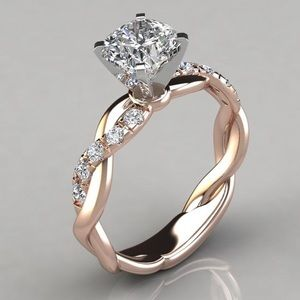 New! 18K Rose Gold Plated Diamond Ring